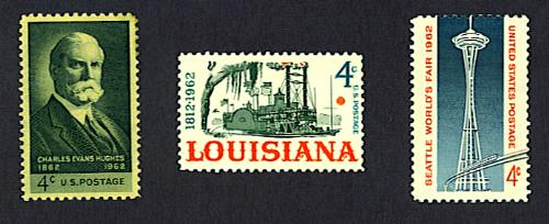 Charles Evans Hughes stamp, 150th anniversary of Louisiana's statehood stamp, and Seattle World's Fair stamp, United States, 1962