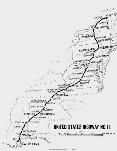 1926 route map of highway US-11