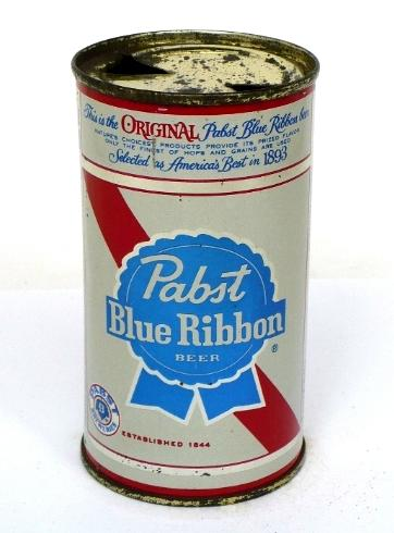 1962 steel Pabst Beer can, flat top, punched opening