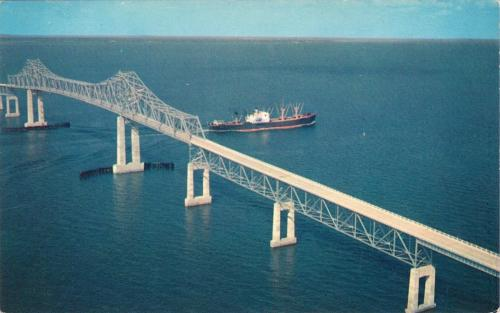 Original Sunshine Skyway Bridge, US-19, Tampa Bay, Florida, circa 1962 postcard