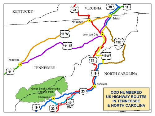 odd numbered US-routes, Tennessee and North Carolina, showing US-19