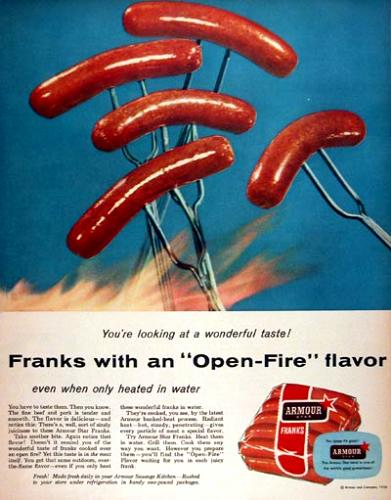 1956 magazine ad for Armour Star Franks