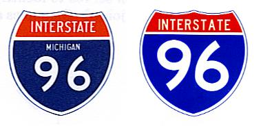 Interstate highway markers, from 1961 and modern