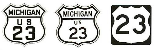 US-23 markers from 1939, 1961, and modern