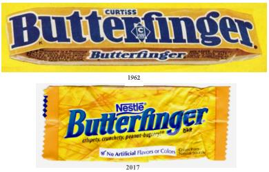 Butterfinger candy bar wrappers, 1961 and 2017