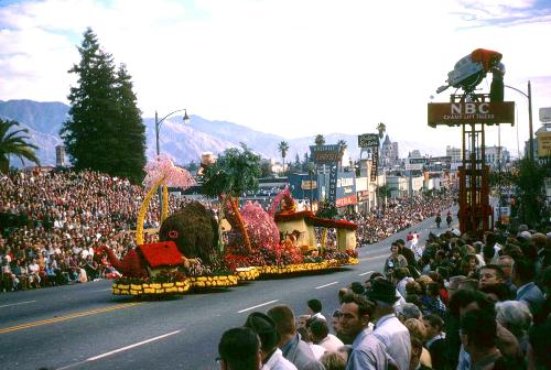 Rose Parade float and NBC camera, Pasadena, California, 1962