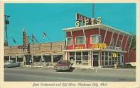 Jan's Restaurant and Gift Store, Mackinaw City, Michigan, postcard