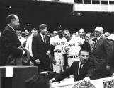 President Kennedy meeting players at opening day at D.C. Stadium, Washington, DC