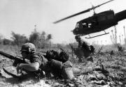 Helicopter and soldiers in Vietman