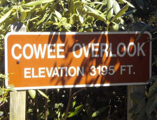 Cowee Overlook elevation sign, Blackrock State Park, Mountain City, Georgia