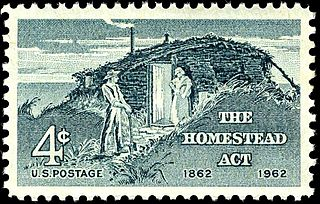 1962 Homestead Act Stamp, showing sod house