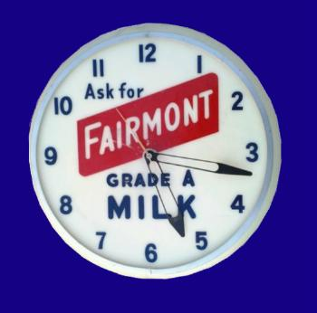 Fairmont Dairy advertising clock, date unknown