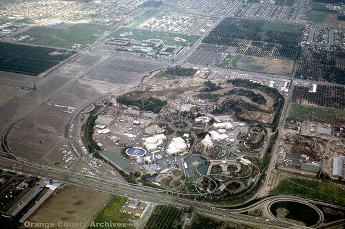 Aerial photo of Disneyland in 1962
