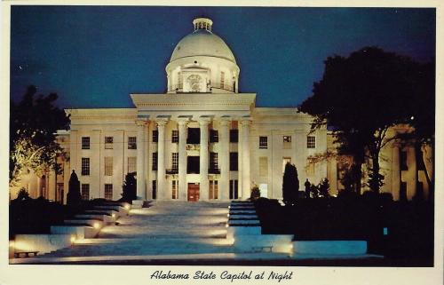 Alabama State Capitol at night, Montgomery postcard