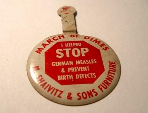 Anti-Rubella button from early 1960s campaign