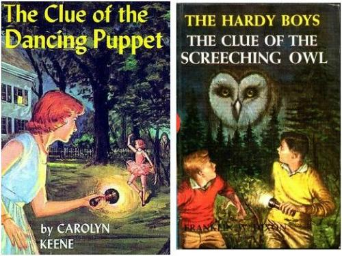 "Covers of ""The Clue of the Dancing Puppet"" and ""The Clue of the Screeching Owl"""