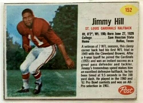 1962 Jimmy Hill Post Cereal football card