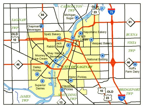 locations of food producers in Saginaw, Michigan, 1962 Map