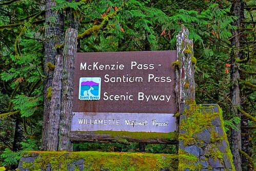 Santiam Pass sign, Willamette National Forest, Oregon