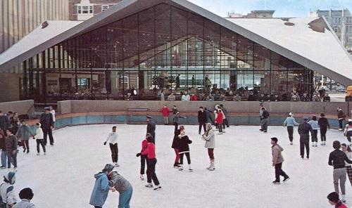 ice skating at Zeckendorf Plaza, Denver, Colorado, 1962 postcard