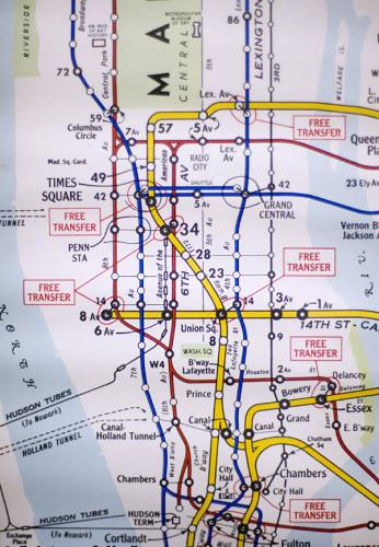 1960s New York subway map excerpt