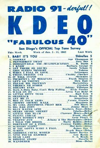 January 5-11, 1962 Top 40 list from San Diego's WKDO