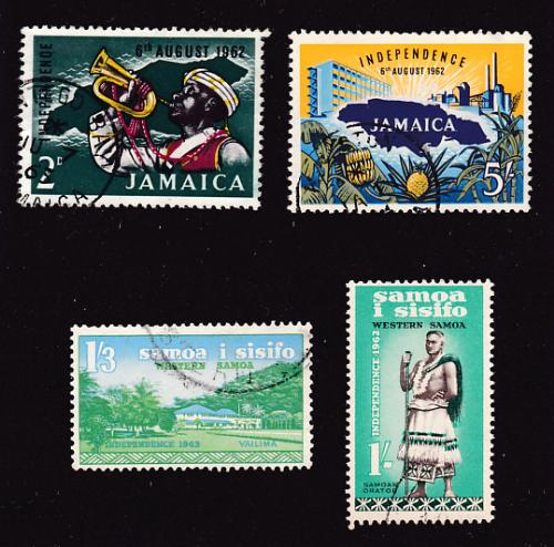 1962 independence stamp issues from Jamaica and Samoa