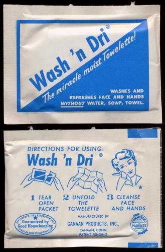 Wash 'n Dry Towelette package, 1962