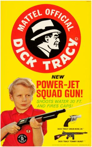 Store advertising card for Mattel's Dick Tracy water guns, 1962