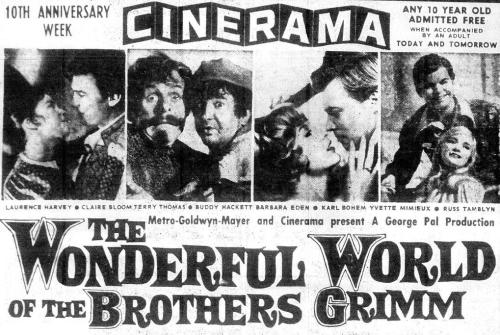 "Newspaper ad for ""The Wonderful World of the Brothers Grimm"", a Cinerama movie, 1962"
