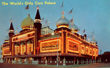Corn Palace, Mitchell, South Dakota postcard (1962 design)