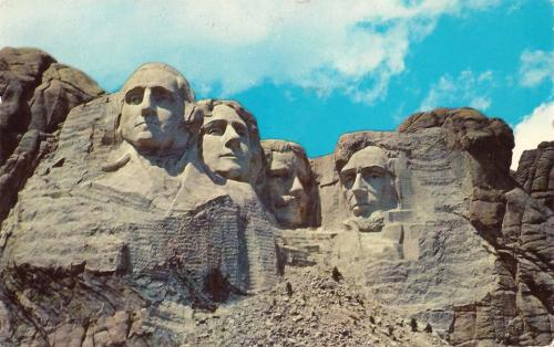 Mount Rushmore National Memorial postcard, 1962