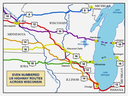 even numbered US-routes crossing Wisconsin, showing US-16