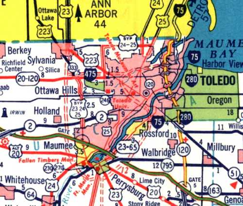 Toldeo, Ohio area, 1962, excerpt from official Ohio Highway Map
