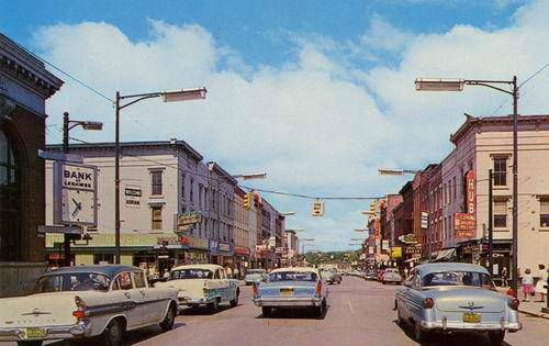 Downtown Adrian, Michigan in the late 1950s