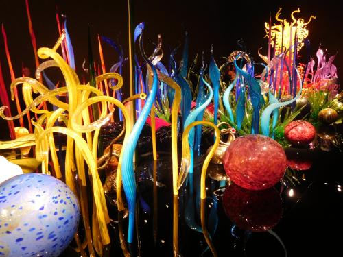 Dark room exhibit at Chihuly Garden and Glass, Seattle, Washington