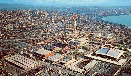 Aerial view of Seattle World's Fair, looking southerly, postcard ca. 1962