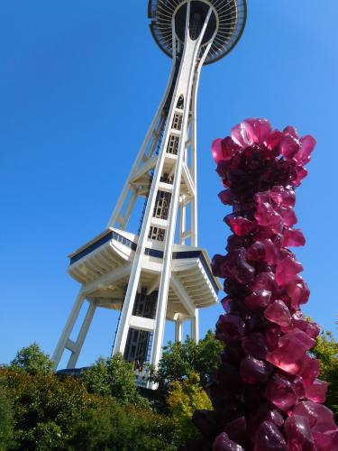 Space Needle and tower of glass by Dale Chihuly, Seattle, Washington